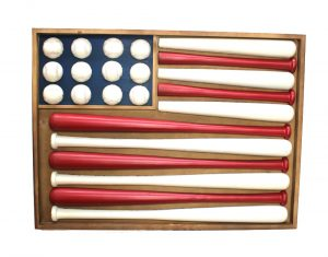 Wooden Flag Shaped Stars and Stripes BASEBALL Wall Art w Bats & Balls, 3D