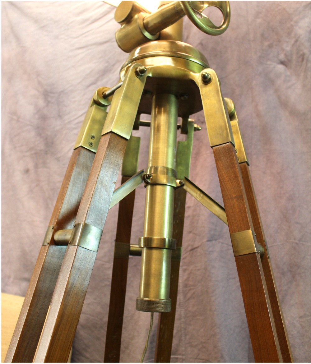 Huge Commercial Quality Antique Brass & Wood Tripod Floor