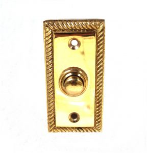 Door Bell Button Plate Rectangular with Rope Pattern Edge Polished Brass