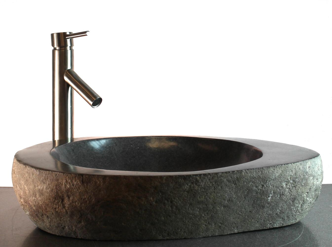 Big river stone with vessel sink and tray bar bathroom for Antique stone sinks for sale