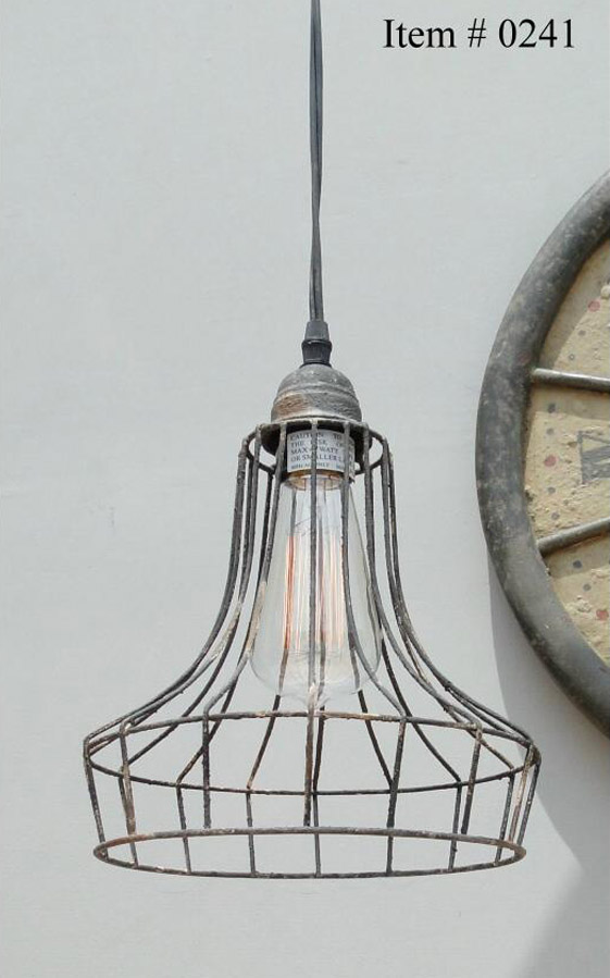 Old Cage Wire Steel Antique Replica Factory Industrial Pendant Light Chandelier Skirt