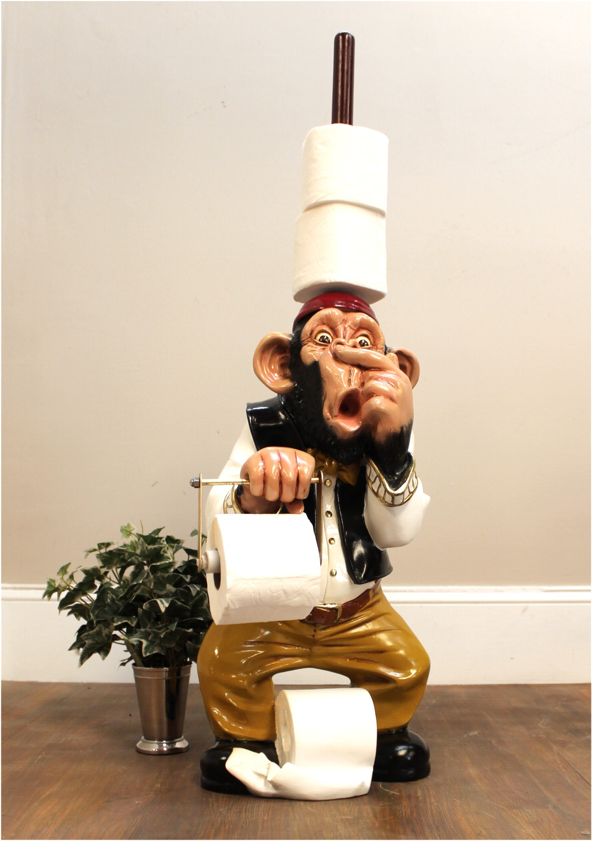 Monkey butler toilet paper holder nose 3 39 statue funny ape plunger on head the kings bay Funny toilet paper holders