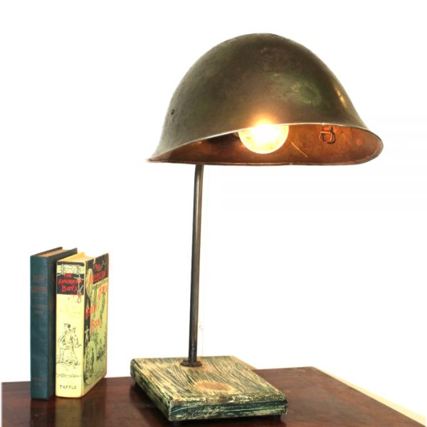 Military Antique Replica Helmet Table Lamp Light Fixture Old Army War Relic