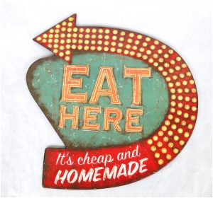 Galvanized Tin Eat Here It Is Cheap and Home Made Wall Sign Old Style