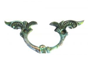 Brass Drawer and Dresser Cabinet Pull Antique Hardware Replica Tiffany Green Finish