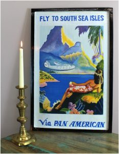 Hand Painted Old Advertising Pan Am Airlines Wood Wall Art Sign, South Seas