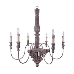 Aged Old Fashioned Wood and Metal Chandelier Light Fixture w 6 arms, Big