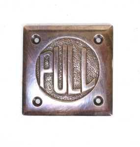 Small PULL Door Plate in Aged Bronze Dark Vintage style Old Fashioned Letters
