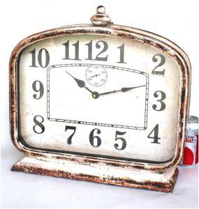 Big Retro Desk or Shelf Mantle Clock w Rusted Aged Finish