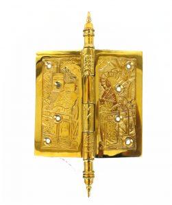 "Japanese Motif Design 4.5"" Solid Brass Door Hinge Rare Quality New Hardware"