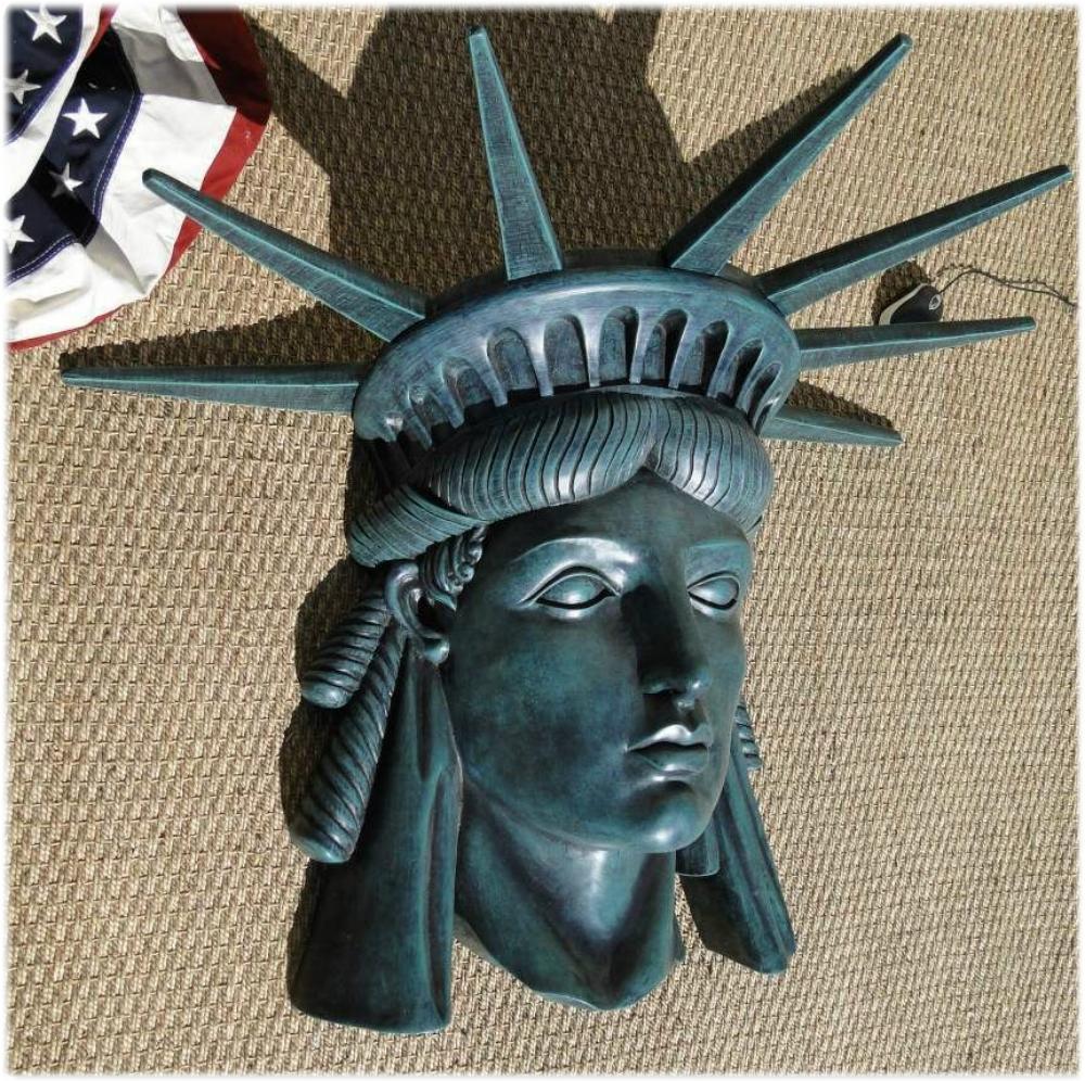 Statue of LIBERTY WALL BUST head lady old wall art green Finish Ellis Island
