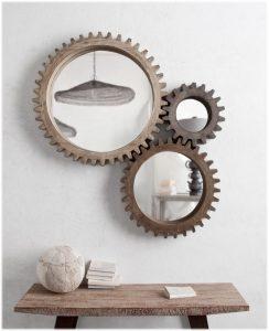 Industrial Cog Mirror Set of Three Big Wood Distressed Factory Industrial Designer Wall Art