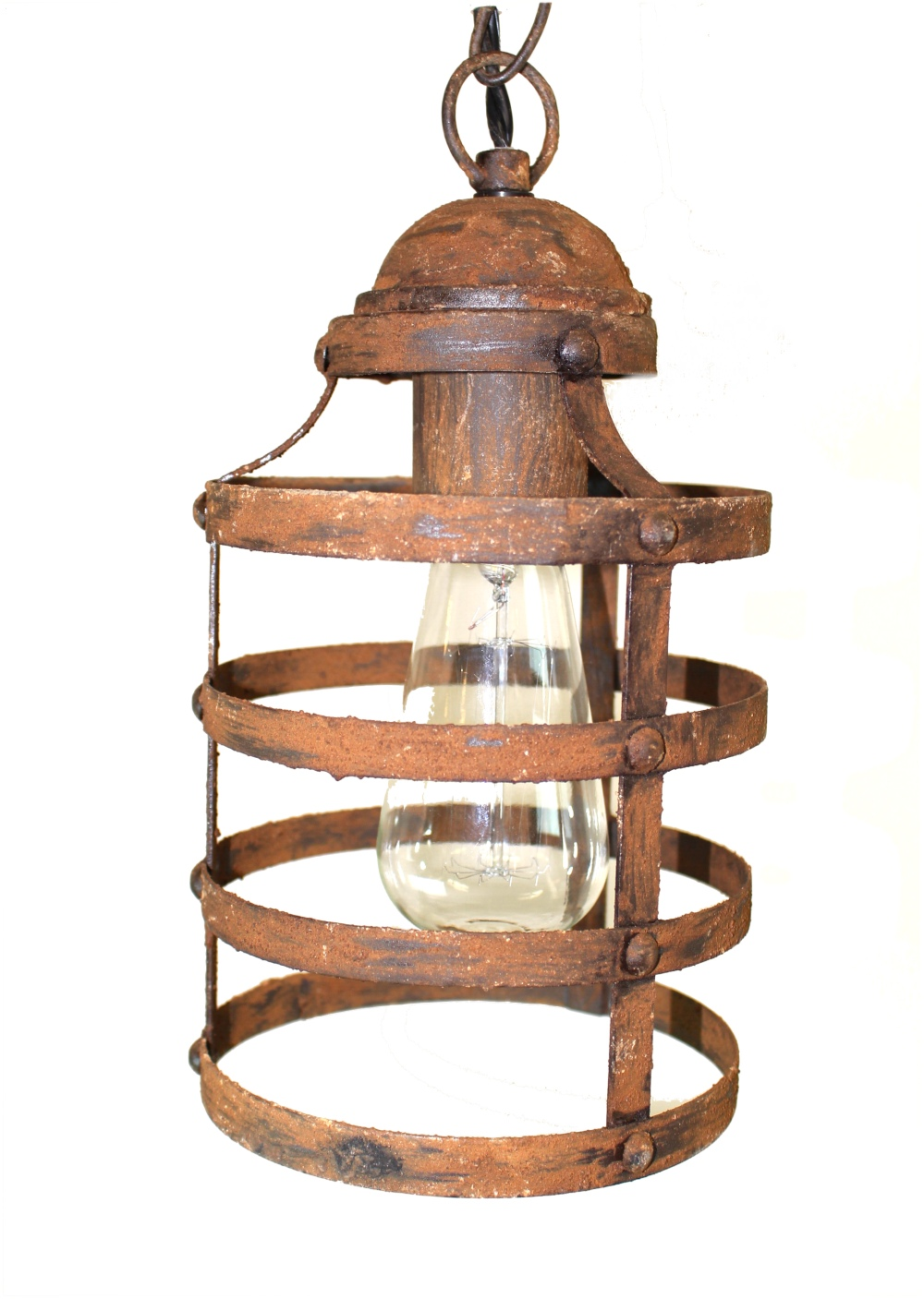 Gothic Regency Rust Iron Cage Pendant Light Fixture w Hanging Chain Old Vintage Style