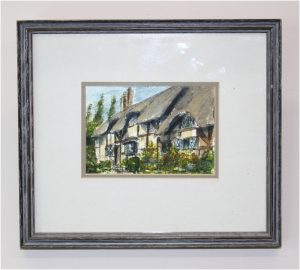 English Thatched House Watercolor Painting Signed Art Framed and Matted