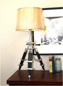 High Designer Tripod Table or Floor Lamp Adjustable Height w Crank Handle Polished Silver