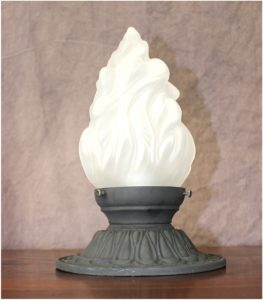 "Cast Iron Ceiling Mounted Porch Light in Cast Iron 3.25"" Fitter Flame Shade"
