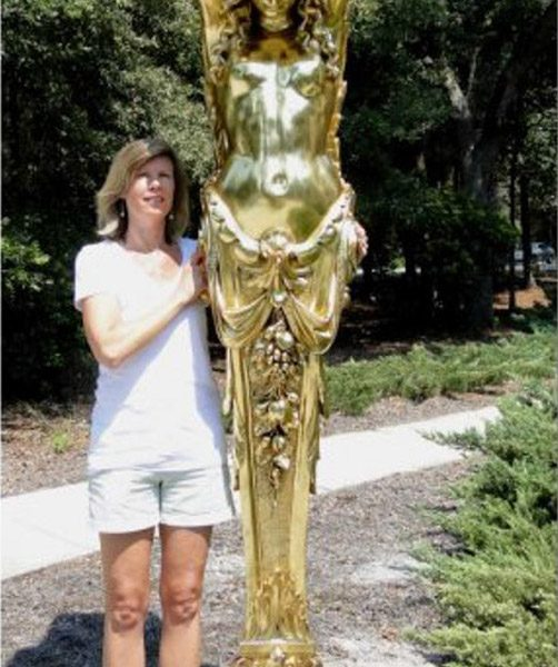 GIANT BIG Architectural Element Wall Bracket Nude Gold Woman, HUGE Pillaster, Rococco