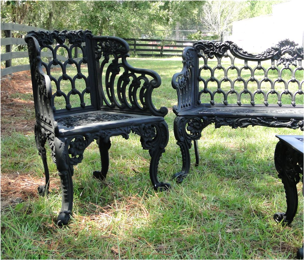 Outdoor Victorian Table: Garden Bench Set Two Side Chairs One Bench And One Table