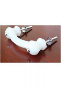 """Antique WHITE Milk Glass Pull for Cabinet Hardware Dressers Knob 3"""" Centers 10 pcs"""