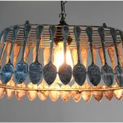 Spoon Chandelier Pendant Light Fixture Ceiling Mounted Aged Hand Made Fixture Biggest