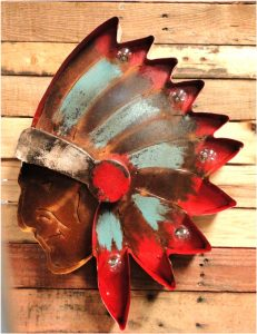 Tin Lighted Native American Indian with Headdress Old Rust Painted Finish