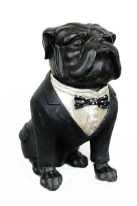 Bull Dog Sculpture Statue with Bow Tie in Tuxedo Cute