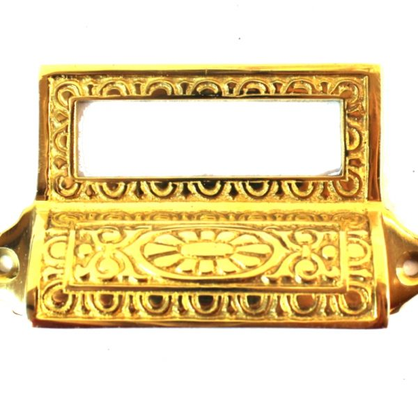 Victorian Solid Brass Bin Pull with Card Holder, Antique Reproduction