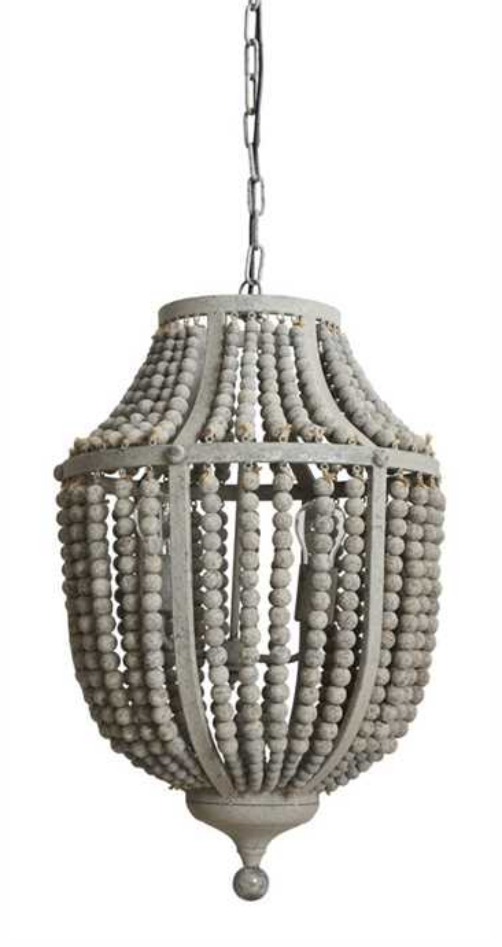 Grey Chandelier Wall Lights : Gray Aged Iron and Wooden Bead Chandelier Hanging Light Fixture - The Kings Bay