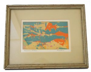 Old Limited Edition RARE Winters Abstract Print, Robin Winters Green Hills Landscape