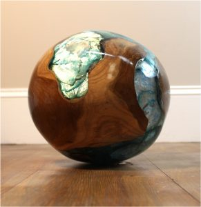 Teak and Blue Resin Plastic Round Ball Burl Shell Wood Rare Accent