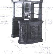 Solid Mahogany Corner Home Bar Furniture with Tiffany Glass Canopy Antique Replica