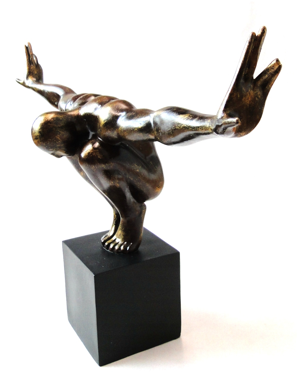 Human Form Statue Art in Faux Bronze - Statue Sculpture on Black ...
