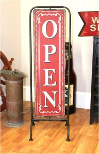 Standing Store Shop Open Closed Sign Red Antique Design Sandwich Board
