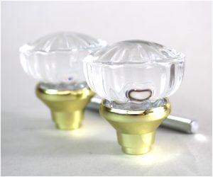 Glass Door Knob Pair with Brass Base and Spindle Our Smaller Set