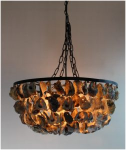 Oyster Shell Pendant Round Chandelier Hand Made Nautical Beach Home Light Fixture