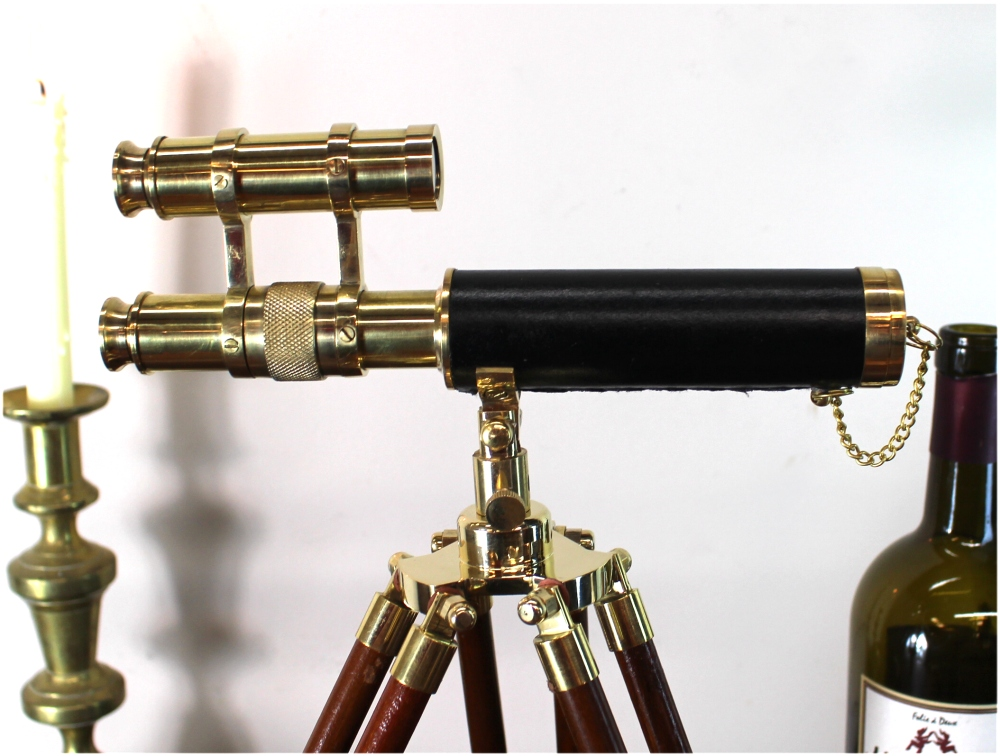 Telescope on Tripod with two scopes Brass Adjustable Height Legs Antique Style