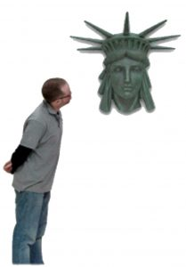 Statue of LIBERTY WALL BUST head lady old wall art green Finish Ellis Island