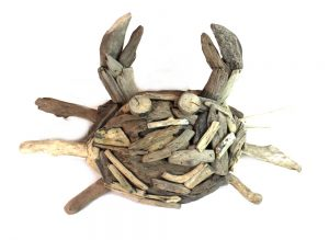 Big Driftwood Crab Wall Nautical Beach Decor Aged Hand Made Drift Wood
