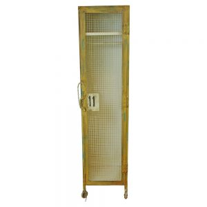 Industrial Factory Iron Mesh Gym Locker Furniture w Metal Cast Iron Wheels