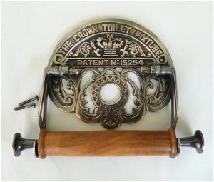 The Crown Toilet Fixture English DARK aged brass Toilet Paper Holder old style Replica