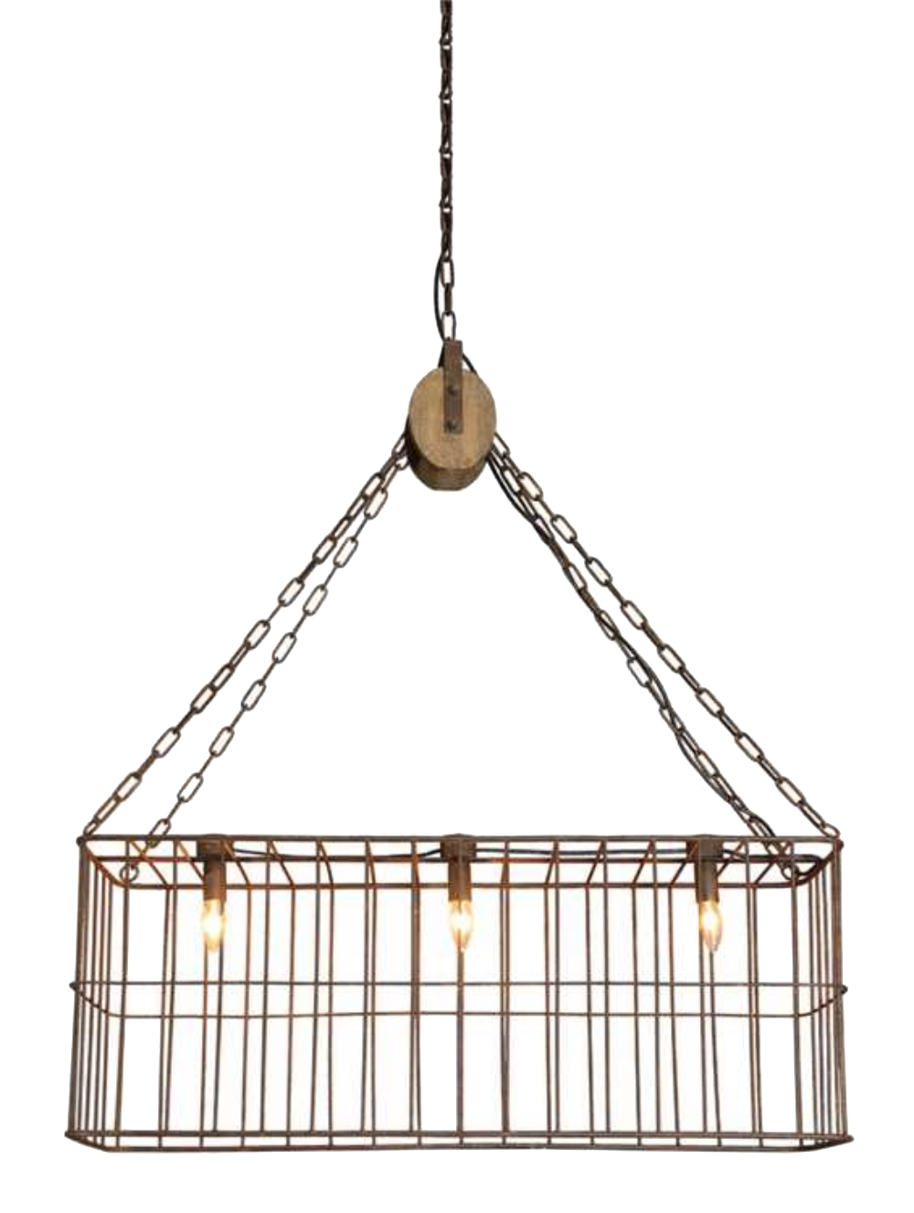 Country farm style iron basket chandelier w wooden pulley for Old fashioned lighting fixtures