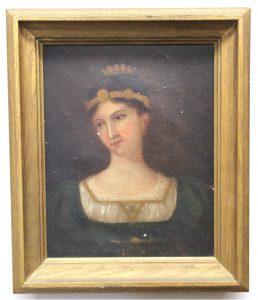 Antique Folk Art Woman Oil Painting Circa 1880 - 1900