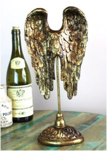 Angel Wings in Gold / Bronze Finish on Pedestal Home Goods Cherub Old Style