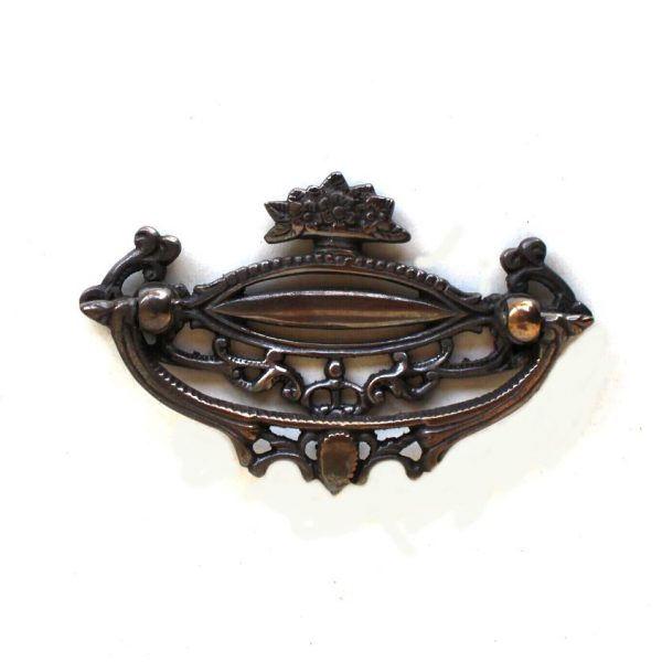 Solid brass cabinet art deco old hardware DARKENED with floral accents