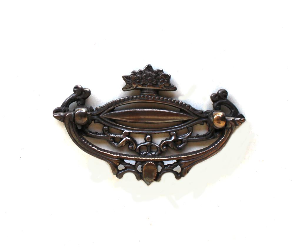 Solid brass cabinet art deco old hardware DARKENED with floral accents 1