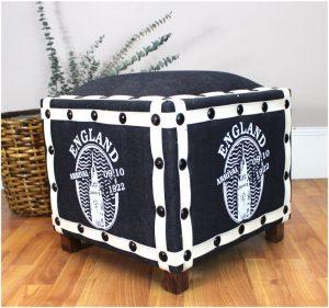 Vintage Denim ENGLISH British Ottoman Footstool, Old Fashioned Furniture Stool