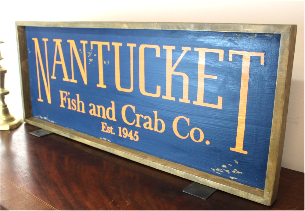 Nantucket Old Style Wood Fish and Crab 1945 Sign Aged Wood Frame Hand Painted