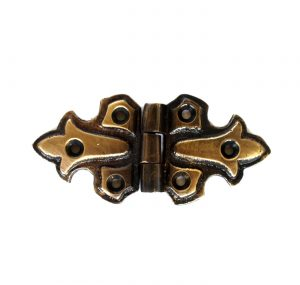 Fleur-de-lis Surface Cabinet Hardware Hinge Aged Bronze Finish over Solid Brass