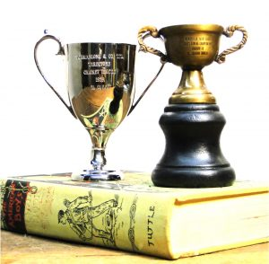 Silver Yacht Cricket Club Antique Brass with Wooden Base Mini Trophy Set, 2 pcs