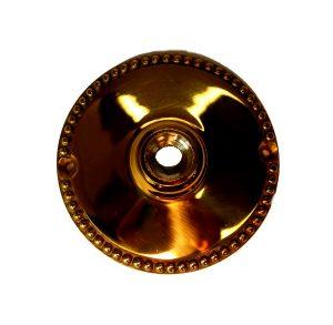 "Big Brass Door Rosette Back Plated 3.25"" Diameter Beaded Edge"